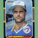 1987 Donruss Baseball #490 Jeff Hearron - Toronto Blue Jays