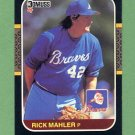 1987 Donruss Baseball #190 Rick Mahler - Atlanta Braves