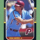 1987 Donruss Baseball #113 Von Hayes - Philadelphia Phillies