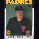 1986 Topps Baseball #681 Dick Williams MG / San Diego Padres Team Checklist NM-M
