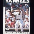 1986 Topps Baseball #533 Billy Sample - New York Yankees