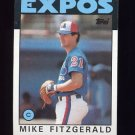 1986 Topps Baseball #503 Mike Fitzgerald - Montreal Expos