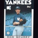 1986 Topps Baseball #449 Rod Scurry - New York Yankees