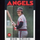 1986 Topps Baseball #155 Bob Grich - California Angels