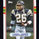 1989 Topps Football #310 Lionel James - San Diego Chargers