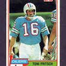 1981 Topps Football #345 Toni Fritsch - Houston Oilers