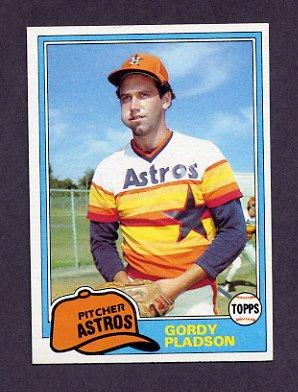 1981 Topps Baseball #491 Gordy Pladson RC - Houston Astros