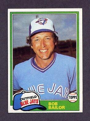 1981 Topps Baseball #297 Bob Bailor - Toronto Blue Jays