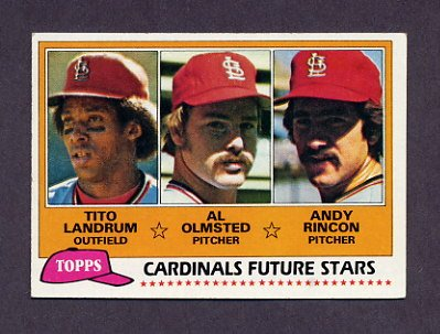 1981 Topps Baseball #244 Tito Landrum RC / Al Olmsted RC / Andy Rincon RC - St. Louis Cardinals