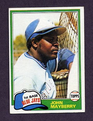 1981 Topps Baseball #169 John Mayberry - Toronto Blue Jays