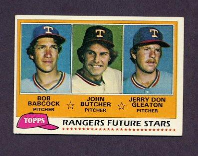 1981 Topps Baseball #041 Bob Babcock RC / John Butcher RC / Jerry Don Gleaton RC - Texas Rangers