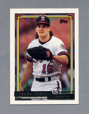 1992 Topps Baseball Gold Winners #338 Shawn Abner - California Angels