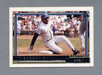 1992 Topps Baseball Gold Winners #320 George Bell - Chicago Cubs