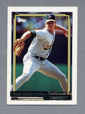 1992 Topps Baseball Gold Winners #202 Rick Honeycutt - Oakland A's
