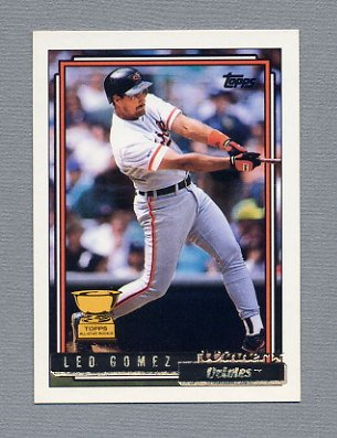 1992 Topps Baseball Gold Winners #084 Leo Gomez - Baltimore Orioles