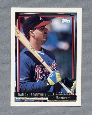 1992 Topps Baseball Gold Winners #049 Damon Berryhill - Atlanta Braves