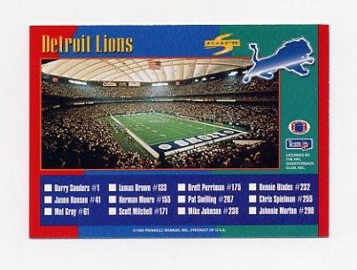 1994 Score Football #310 Detroit Lions TC / Houston Oilers TC