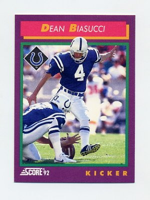 1992 Score Football #211 Dean Biasucci - Indianapolis Colts