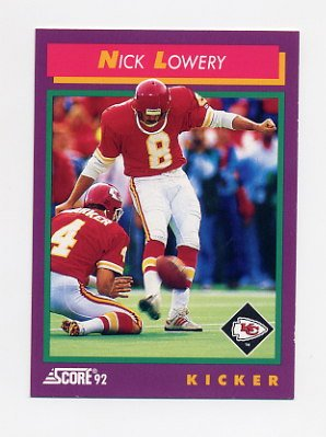 1992 Score Football #176 Nick Lowery - Kansas City Chiefs