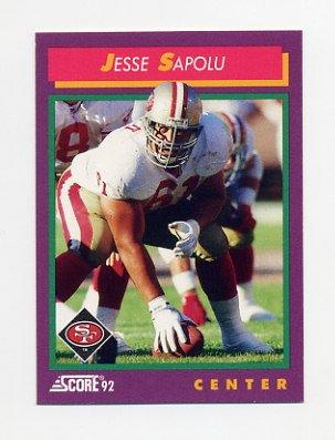 1992 Score Football #157 Jesse Sapolu - San Francisco 49ers