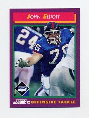 1992 Score Football #140 John Elliott - New York Giants