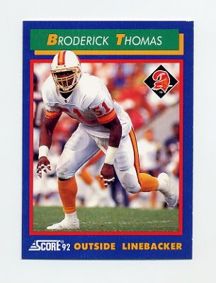 1992 Score Football #043 Broderick Thomas - Tampa Bay Buccaneers
