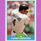 1989 Score Baseball #179 Carney Lansford - Oakland A's