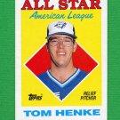 1988 Topps Baseball #396 Tom Henke AS - Toronto Blue Jays