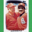 1988 Topps Baseball #351 St. Louis Cardinals Team Leaders / Red Schoendienst / Tony Pena