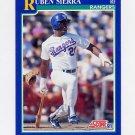 1991 Score Baseball #495 Ruben Sierra - Texas Rangers
