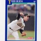 1991 Score Baseball #041 Todd Burns - Oakland A's