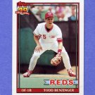 1991 Topps Baseball #334 Todd Benzinger - Cincinnati Reds