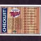 1995 Score Baseball #325 Team Checklist / New York Mets / Minnesota Twins