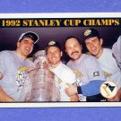 1992-93 Score Hockey #518 1992 Stanley Cup Champions / Pittsburgh Penguins