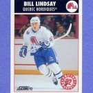 1992-93 Score Hockey #463 Bill Lindsay RC - Quebec Nordiques