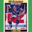 1992-93 Score Hockey #445 Mike Gartner SH - New York Rangers