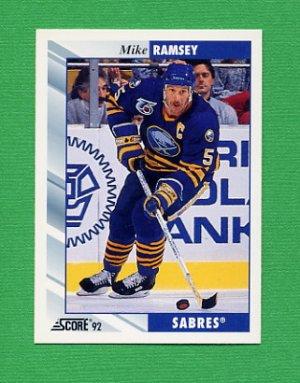 1992-93 Score Hockey #028 Mike Ramsey - Buffalo Sabres