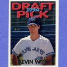 1995 Topps Baseball #341 Kevin Witt - Toronto Blue Jays
