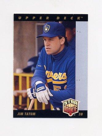 1993 Upper Deck Baseball #013 Jim Tatum RC - Milwaukee Brewers