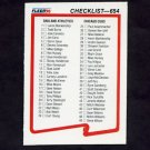 1990 Fleer Baseball #654 Checklist Card