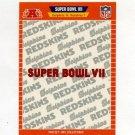 1989 Pro Set Football Super Bowl Logos #07 Super Bowl VII Miami Dolphins / Washington Redskins