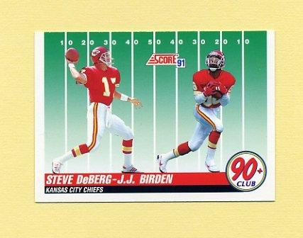 1991 Score Football #326 J.J. Birden RC / Steve DeBerg - Kansas City Chiefs