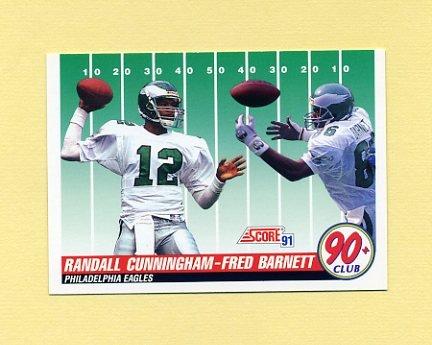 1991 Score Football #320 Randall Cunningham / Fred Barnett - Philadelphia Eagles