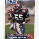 1991 Pro Set Football WLAF Inserts #16 Ray Savage - Montreal Machine