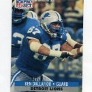 1991 Pro Set Football #497 Ken Dallafior - Detroit Lions