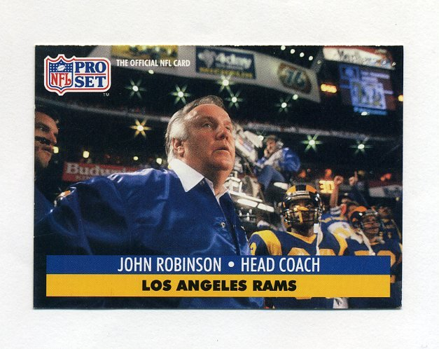 1991 Pro Set Football #207 John Robinson CO - Los Angeles Rams