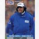 1991 Pro Set Football #153 Wayne Fontes CO - Detroit Lions