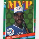 1991 Donruss Baseball #389 Fred McGriff MVP - Toronto Blue Jays