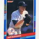 1991 Donruss Baseball #291 Jeff D. Robinson - New York Yankees