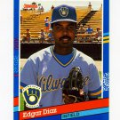 1991 Donruss Baseball #197 Edgar Diaz - Milwaukee Brewers